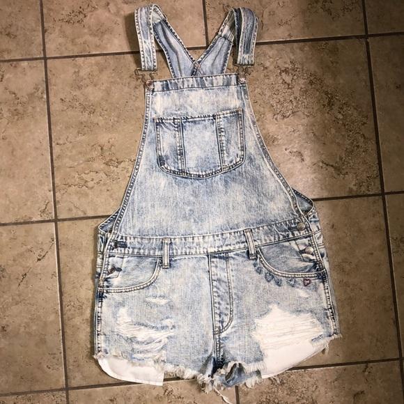 American Eagle distressed jean overalls